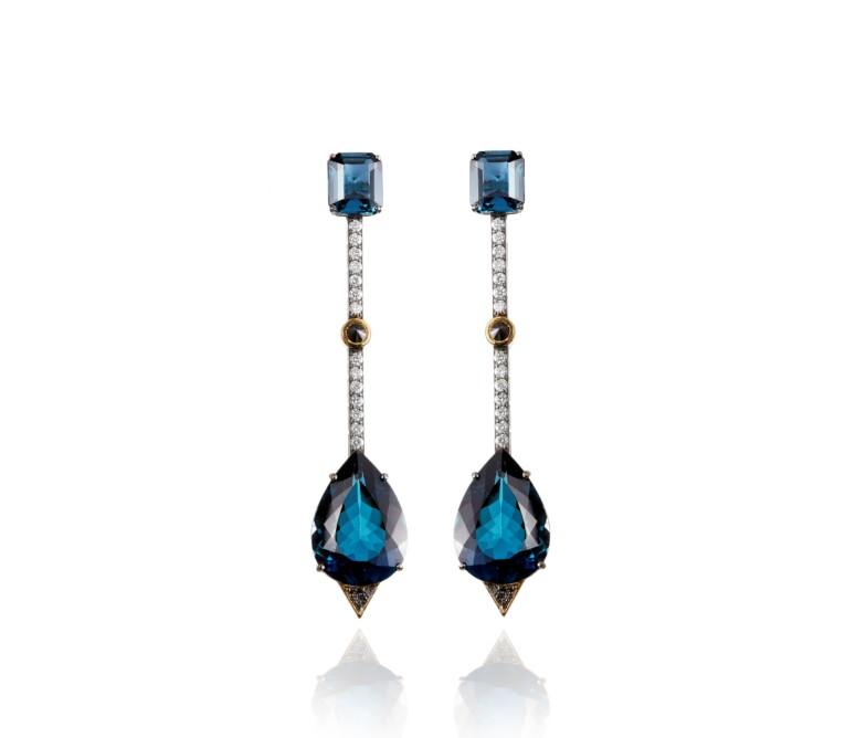 Topazio London Blue com Diamantes