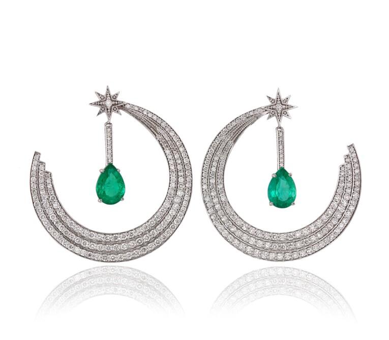 Brinco Esmeralda e Diamantes