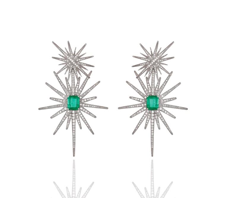 Brinco Estrela Esmeralda e Diamantes