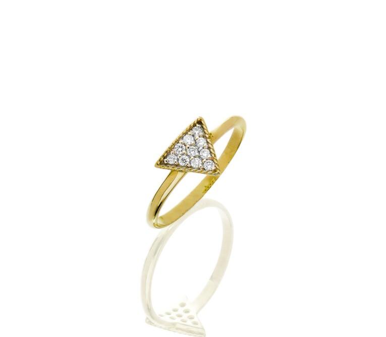 Anel Triangulo de Diamantes e Ouro 18