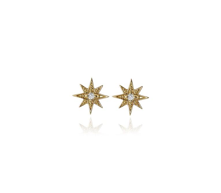 Brinco Estrela Ouro Amarelo e Diamante