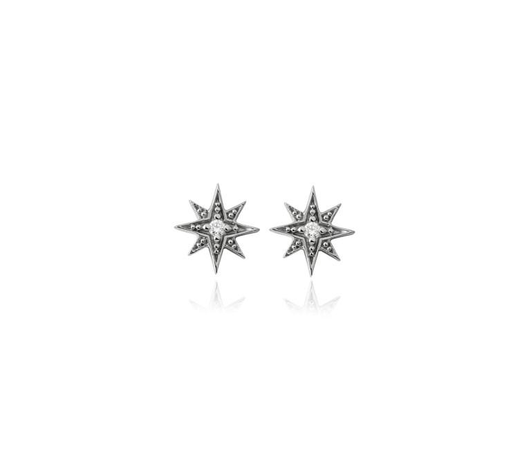 Brinco Estrela Ouro Branco e Diamante